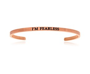 Pink Stainless Steel I'm Fearless Cuff Bracelet