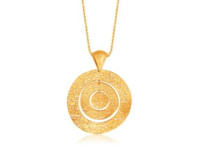 Freeform Weave Nesting Circles Pendant in 14K Yellow Gold
