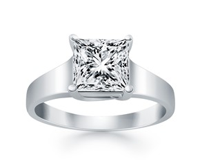 Princess Trellis Solitaire Engagement Ring Mounting in 14K White Gold