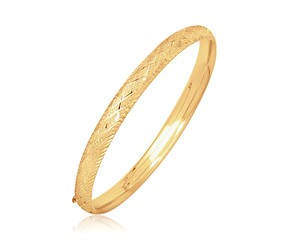 Fancy Diamond Cut Bangle in 14K Yellow Gold (6.0mm)