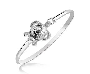 Turtle Motif Slender Bangle in Rhodium Plated Sterling Silver