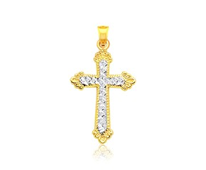 Two Tone Diamond Cut Cross Pendant in 14K Gold