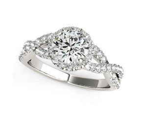 Interlaced Split Shank Round Diamond Engagement Ring in 14K White Gold (1 1/2 ct. tw.)