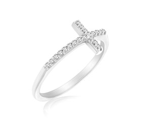Cross Motif Ring with Diamond Accents in 14K White Gold (.11ct tw)