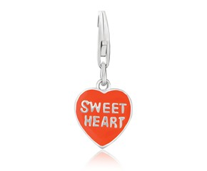 Reversible Heart Enameled Charm in Sterling Silver