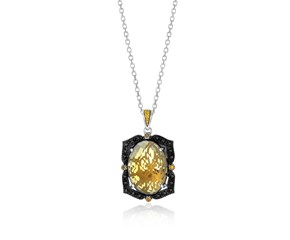 Citrine, Whiskey Quartz, and Diamond Embellished Oval Pendant in 18K Yellow Gold and Sterling Silver