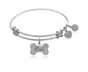 Expandable White Tone Brass Bangle with Dog Bone Symbol