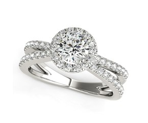 Split Shank Style Round Cut Diamond Engagement Ring in 14K White Gold (1 1/2 ct. tw.)