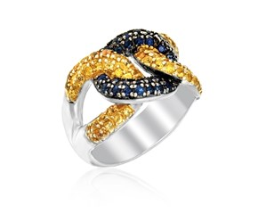 Yellow and Blue Sapphire Knot Ring in Sterling Silver