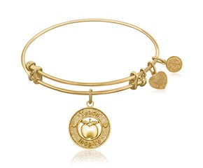 Expandable Yellow Tone Brass Bangle with Teacher Symbol