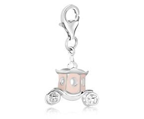 Carriage Enameled Charm in Sterling Silver