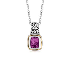 Rectangular Amethyst Milgrained Pendant Necklace in 18K Yellow Gold and Sterling Silver