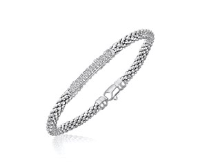 Diamond Section Popcorn Bangle in Rhodium Finished Sterling Silver (.14ct tw)