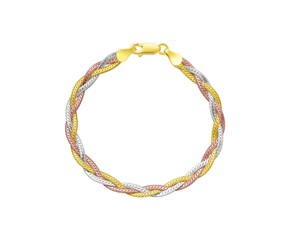 Multi-Row Woven Bracelet in Tri-Color Sterling Silver