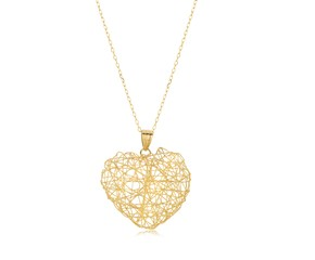 Fancy Weave Heart Pendant in 14K Yellow Gold