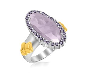 Oval Amethyst Fleur De Lis Ring in 18K Yellow Gold and Sterling Silver