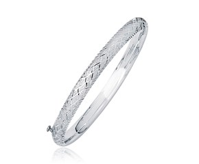 Dome Woven Diamond Cut Style Children's Bangle in 14K White Gold