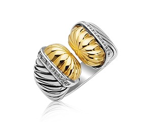 Diamond Embellished Open Style Cable Inspired Ring in 18K Yellow Gold and Sterling Silver (.11 ct. tw.)
