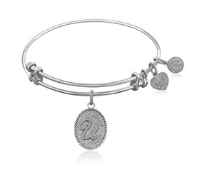 Expandable White Tone Brass Bangle with Initial U Symbol