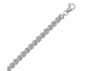 Classic Byzantine Motif Chain Bracelet in Rhodium Plated Sterling Silver