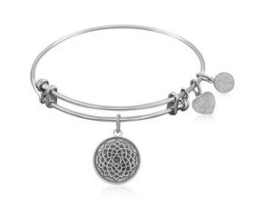 Expandable White Tone Brass Bangle with Lotus Flower Awakening Symbol