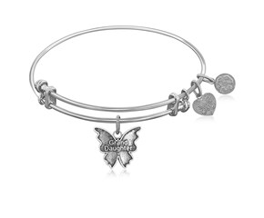 Expandable White Tone Brass Bangle with Grand Daughter Symbol