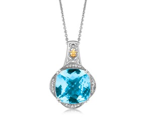 Blue Topaz and Diamond Embellished Fleur De Lis Motif Cushion Pendant in 18K Yellow Gold and Sterling Silver (.09 ct. tw.)
