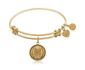 Expandable Yellow Tone Brass Bangle with Horseshoe Good Luck Symbol