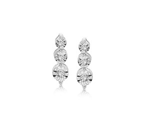 Diamond Embellished Graduated Marquis Drop Earrings in Rhodium Plated Sterling Silver (.11 ct t.w.)
