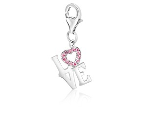 LOVE Pink Tone Crystal Accented Charm in Sterling Silver