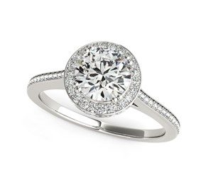 Thin Channel Set Shank Round Diamond Engagement Ring in 14K White Gold (2 ct. tw.)