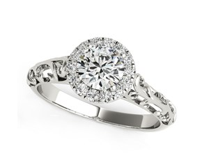 14K White Gold Halo Antique Style Round Diamond Engagement Ring (5/8 ct. tw.)