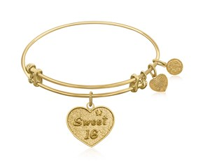 Expandable Yellow Tone Brass Bangle with Sweet 16 Symbol
