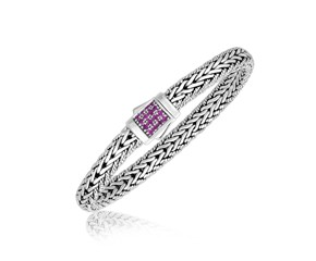 Pink Sapphire Accented Fancy Men's Braided Bracelet in Sterling Silver