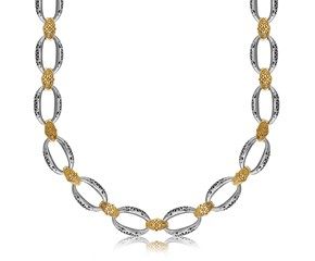 Filigree Look Chain Necklace in 18K Yellow Gold and Sterling Silver