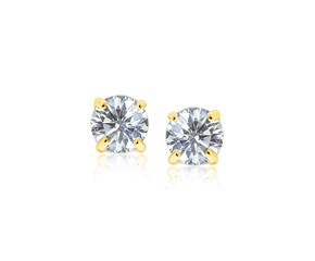 7mm Faceted White Cubic Zirconia Stud Earrings in 14K Yellow Gold
