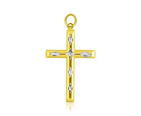 Center Diamond Cut Fancy Cross Pendant in 14K Two-Tone Gold