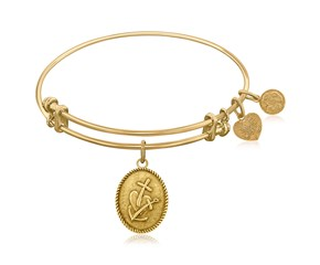 Expandable Yellow Tone Brass Bangle with Faith Hope and Charity Symbol