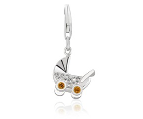 Baby Stroller Multi Tone Crystal Encrusted Charm in Sterling Silver