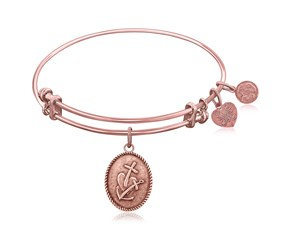 Expandable Pink Tone Brass Bangle with Faith Hope and Charity Symbol