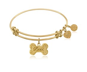 Expandable Yellow Tone Brass Bangle with Dog Bone Symbol