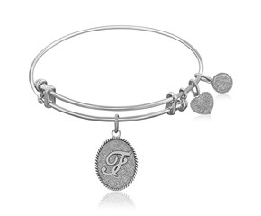 Expandable White Tone Brass Bangle with Initial F Symbol