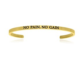 Yellow Stainless Steel No Pain, No Gain Cuff Bracelet