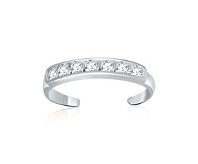 Cubic Zirconia Accented Toe Ring in 14K White Gold