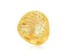 Freeform Weave Dome Ring in 14K Yellow Gold
