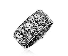 Diamond Accented Fleur De Lis Motif Bangle in Sterling Silver