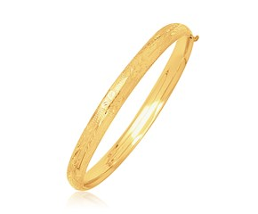 Dome Diamond Cut Design Children's Bangle in 14K Yellow Gold