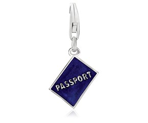 Passport Blue Enameled Charm in Sterling Silver