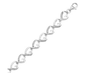 Heart Chain Bracelet with Diamond Accents in Sterling Silver (.15 ct t.w.)