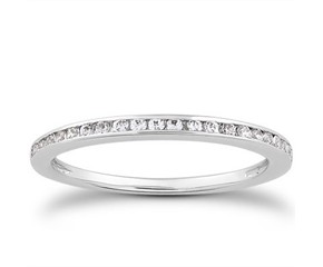 Classic Slender Channel Set Diamond Wedding Ring Band in 14K White Gold
